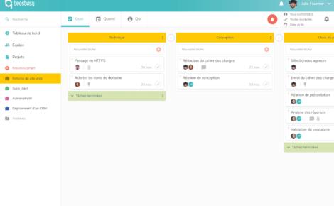 La vue QUOI de l'outil de gestion de projet Beesbusy permet de planifier des listes de tâches.