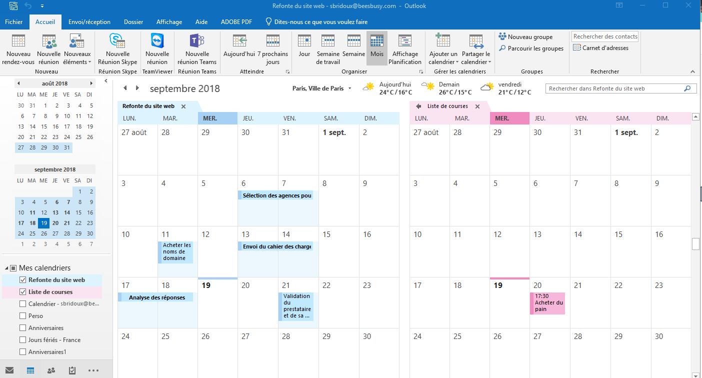 Visualisez votre nouveau calendrier par projet sur Outlook