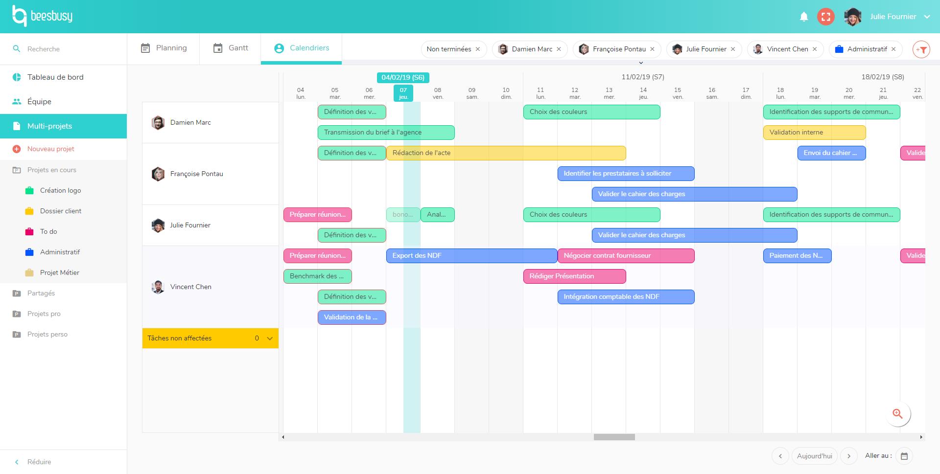 Visualisez le planning de vos membres sous forme de calendrier