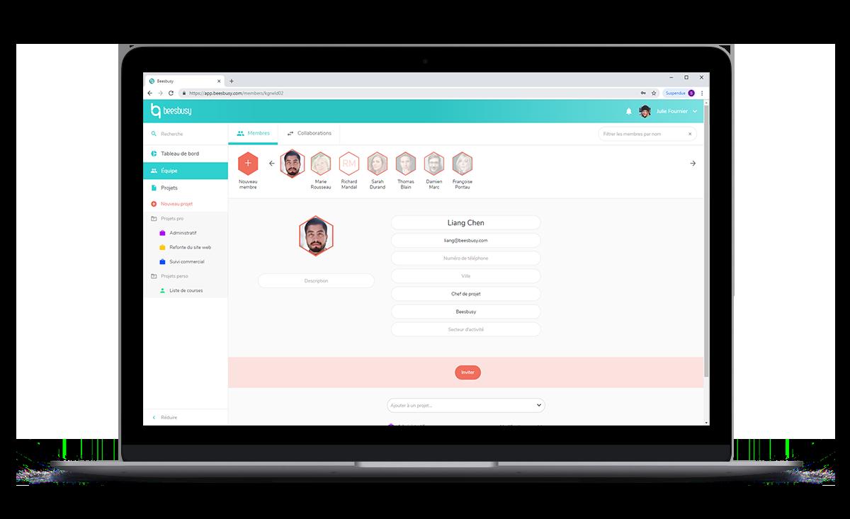 L'outil de gestion de projet Beesbusy permet de faciliter le travail collaboratif. Invitez des membres pour participer à vos projets.