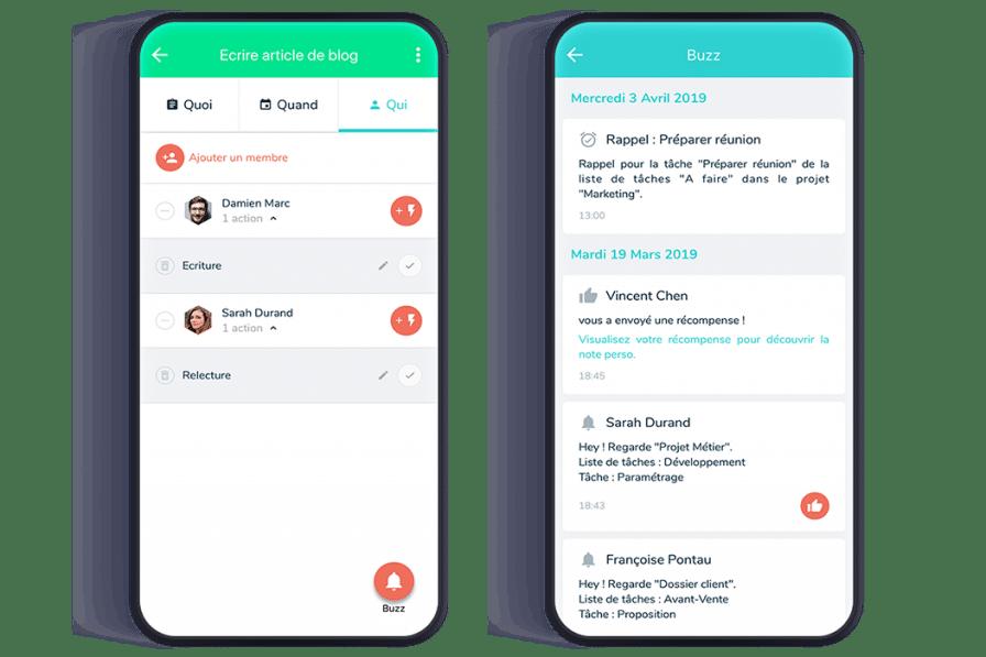 Présentation des tâches du projet et des notifications de communication sur smartphone