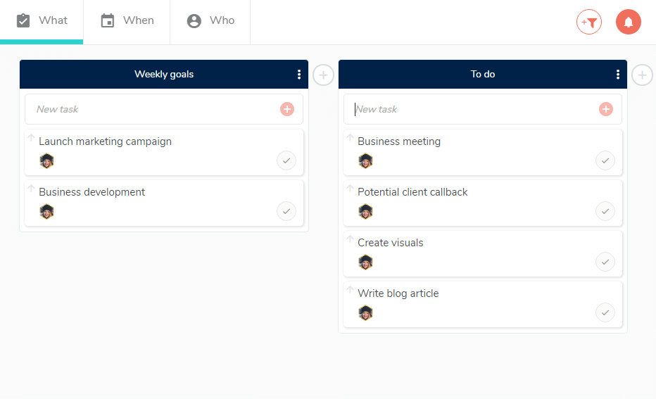 Organize your work into a project by creating tasks.
