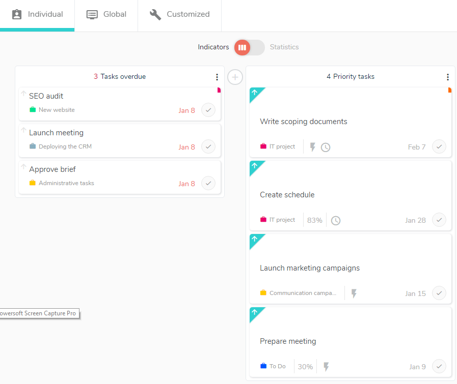 Follow the progress of your tasks with a dashboard.