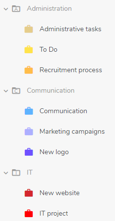 Sort your projects into folders for a better organization of your work.