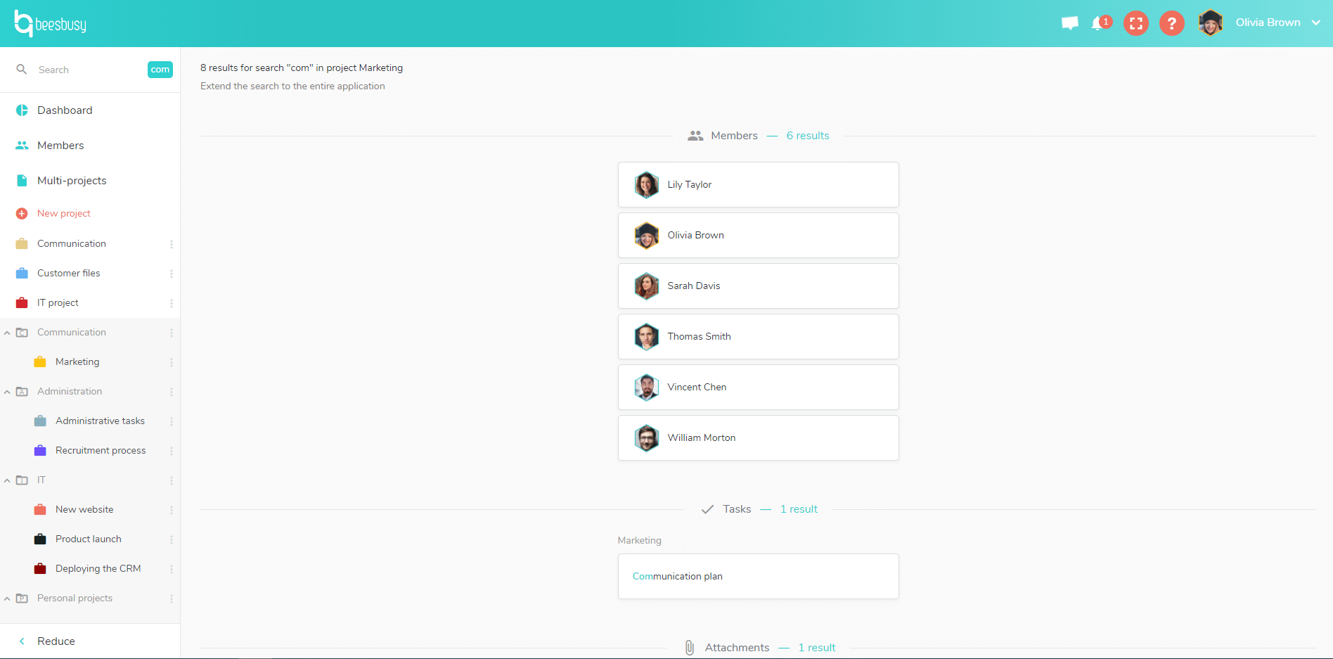 Search anything you are looking for in Beesbusy with the search tool.