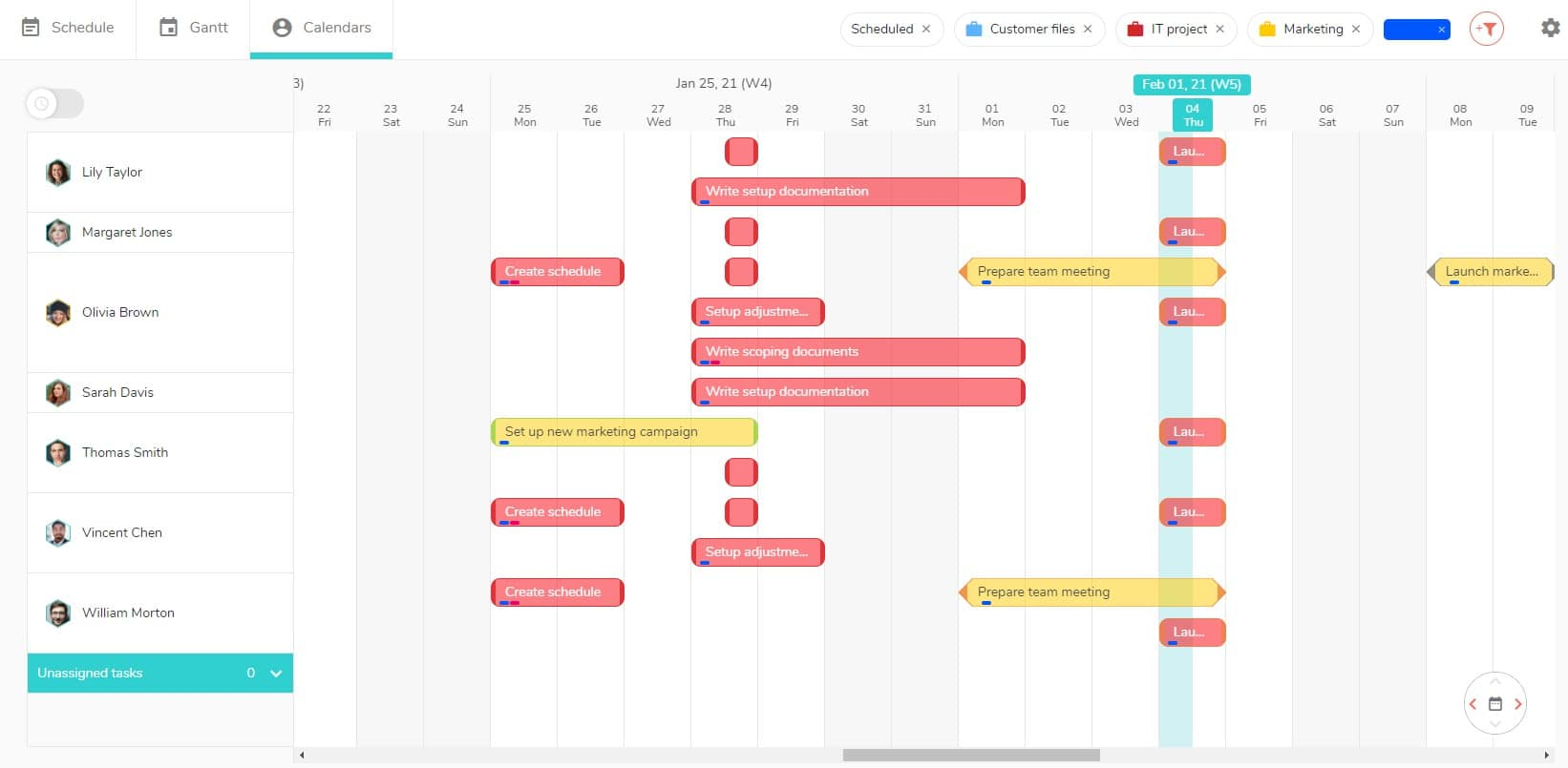 See all the tasks with a particular label on the different views of your project.