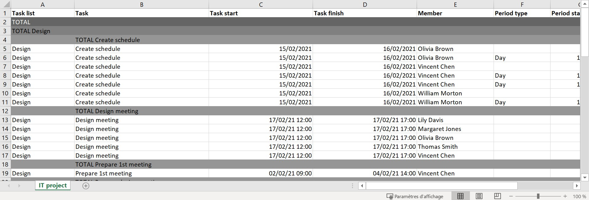 Export your project as an Excel file.