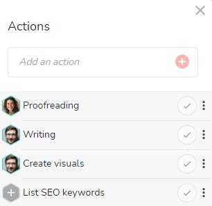 Actions summary