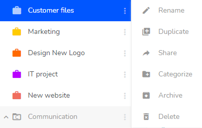 In the left side bar you can access the main options for your projects.