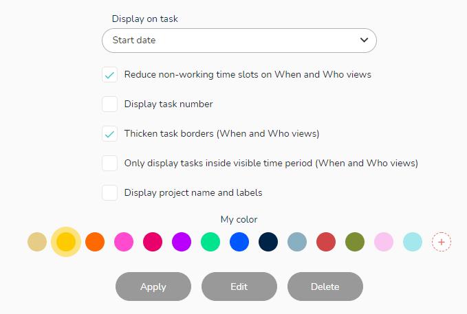 Display options on the task.
