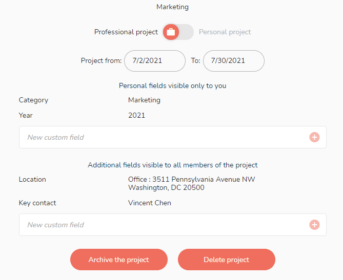 All the main information of the project in its settings.