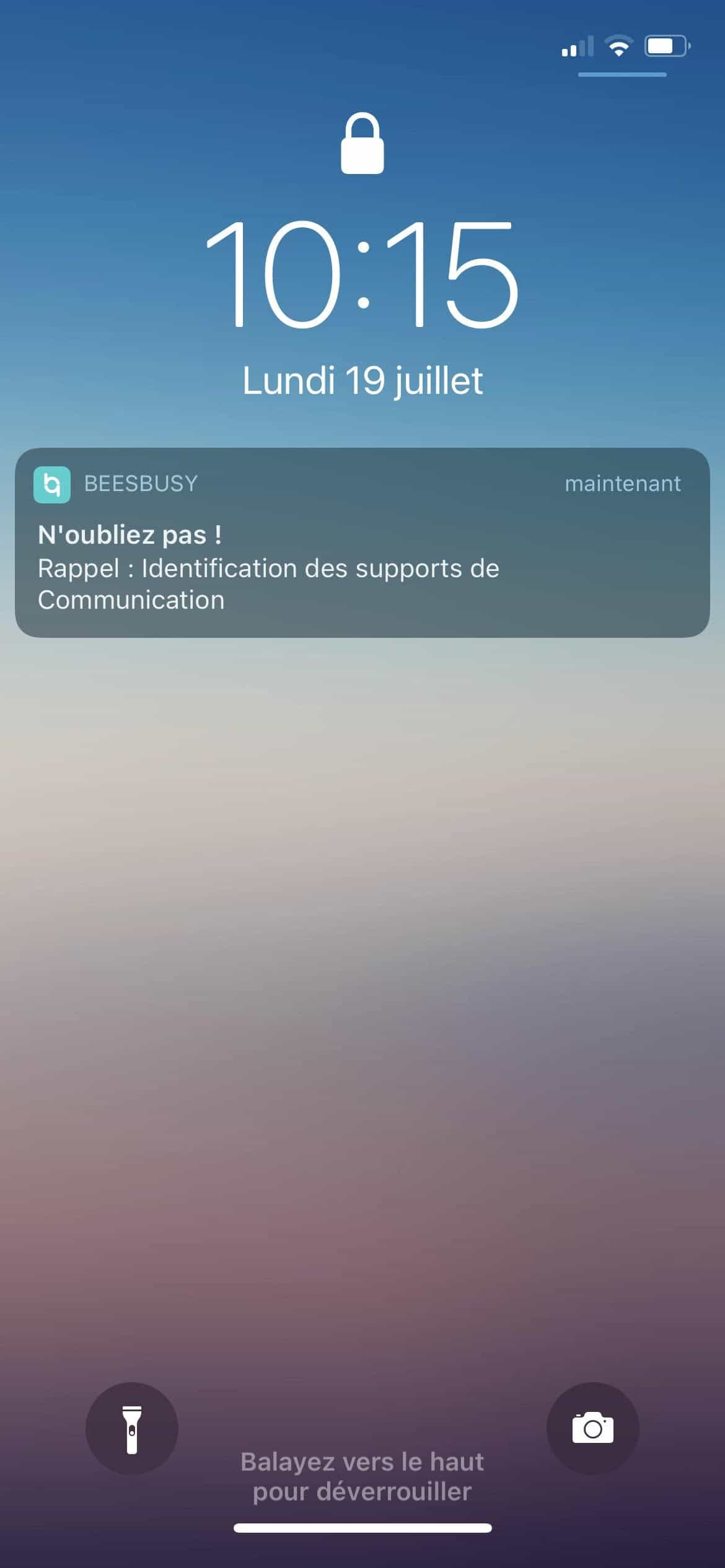 Notification push rappel
