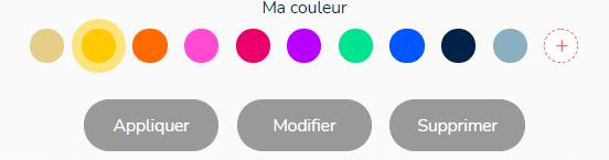 les couleurs par défaut d'un projet