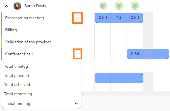 Menu to display time values on the tasks