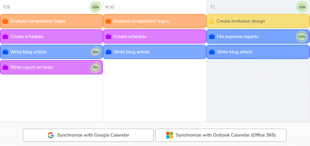 Action buttons to synchronize your Beesbusy agenda