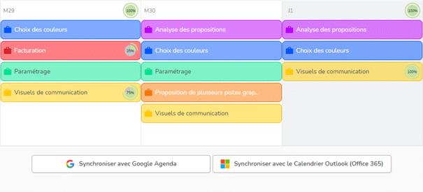 Boutons de synchronisation de l'agenda de Beesbusy vers Google agenda ou le calendrier MO365