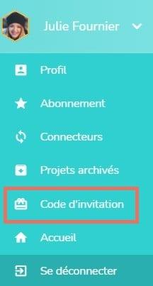 Menu du profil pour accéder à la zone de saisie des codes
