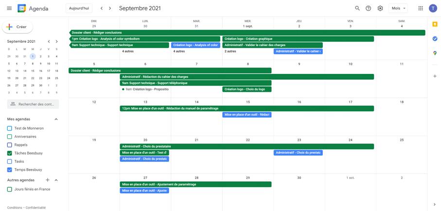 Vues des tâches et temps intégrés au Google Agenda